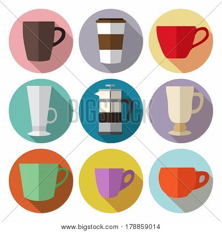 Set of simple colorful coffee cups and french press flat icons on circles vector illustration