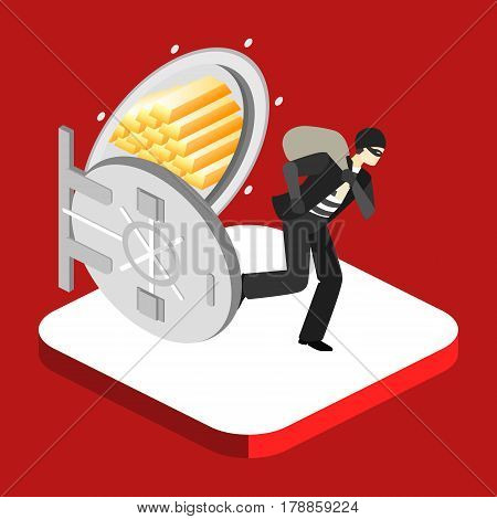 Thief Running Out Of A Bank Vaul. Isometric Concept Vector