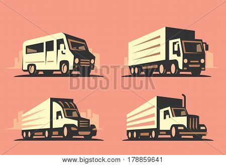 emblem transportation silhouette vector on beige background