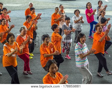 Yilan Taiwan - October 14 2016: A group of older people in the exercise of the dance