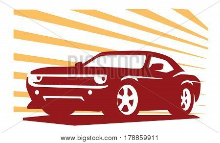 emblem muscle car silhouette vector on white background