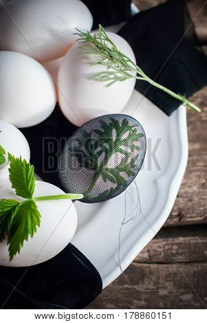 Eggs In Stage Of Preparation Decor Wormwood For Happy Easter. Bi