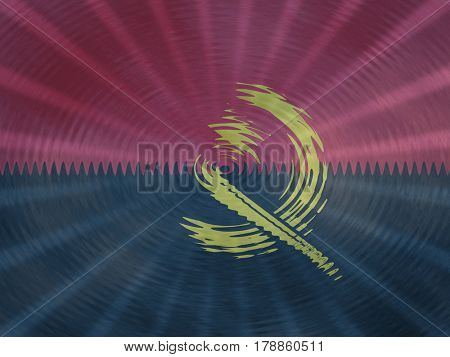 Angolan flag background with ripples and rays illustration