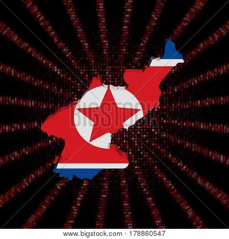 North Korea map flag on red hex code burst 3d illustration