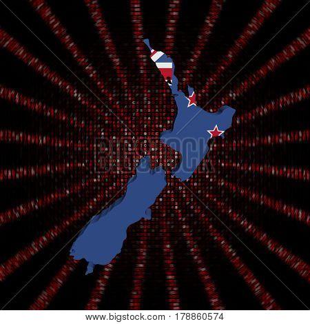 New Zealand map flag on red hex code burst 3d illustration