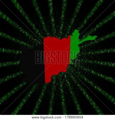 Afghanistan map flag on green hex code burst 3d illustration