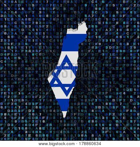 Israel map flag on hex code 3d illustration