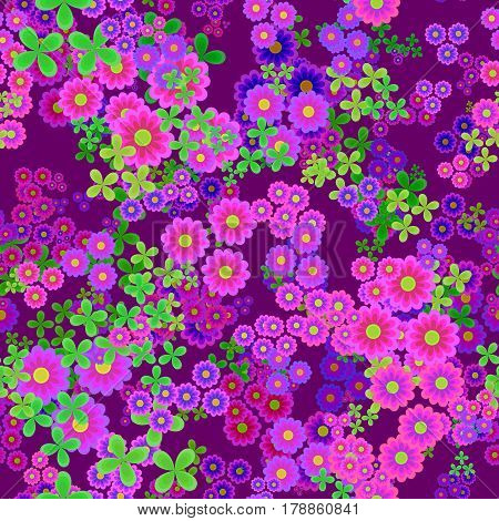 Abstract pink flowers, Purple floral pattern, Green leaves and magenta blooms, Violet petal leafy texture background, Seamless illustration