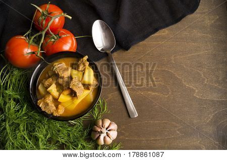 Cooking Hungarian Goulash Soup. Macro. The View From The Top
