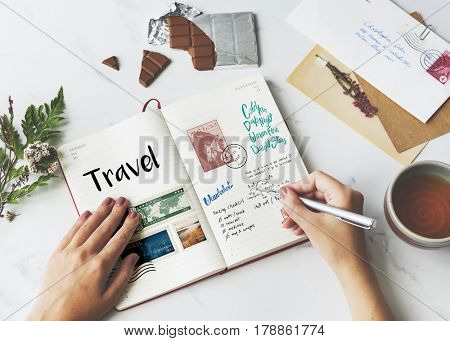 Planning traveling trip notes wanderlust
