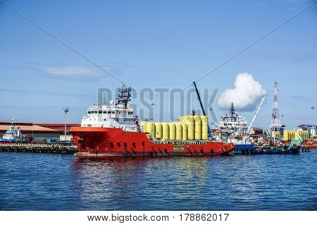 Labuan,Malaysia-Mar 25,2017:Offshore oil & gas sub-sea diving,construction & support vessel at port of Labuan,Malaysia.All the vessels in Labuan,Malaysia,most related to the offshore Oil & Gas Malaysia industry.