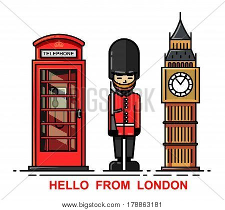 Vector set of London city and britain culture