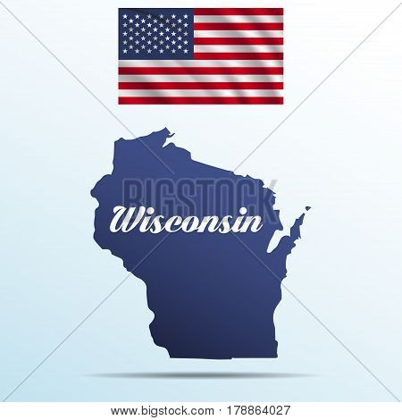 Wisconsin state with shadow with USA waving flag