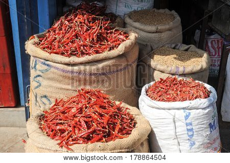 Mysore India - 23 January 2015: Red chili peppers at the market of Devaraja at Mysore on India