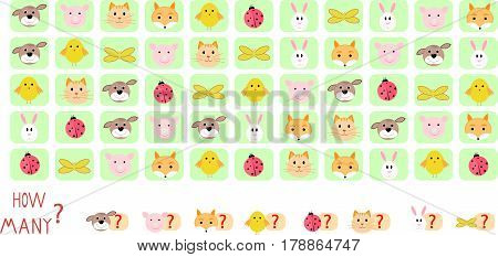 Riddle count the beasts vector illustration Mathematics, cartoon