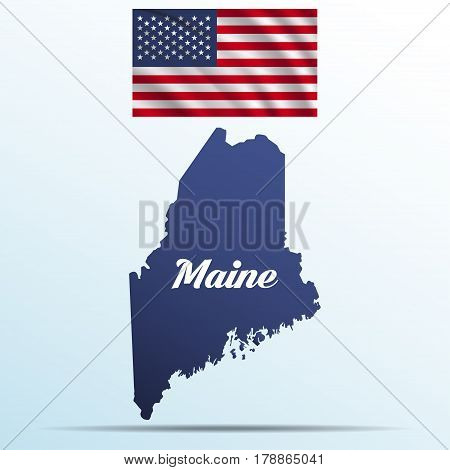Maine state with shadow with USA waving flag