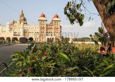 Mysore India - 23 January 2015: people walking and visiting the Mysore Palace on India