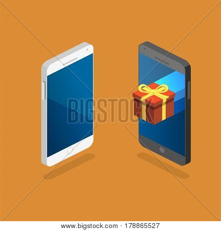 Online Order. Gift Box On Top Of Phone Touch Screen