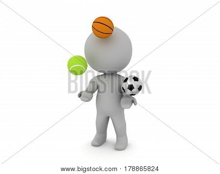 3D Character juggling sport balls. One tennis ball one basket ball and a football.