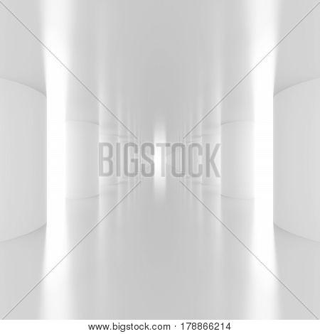 Bright light passes near the columns in the futuristic empty white corridor. Abstract architectural interior of the future. 3D Rendering.