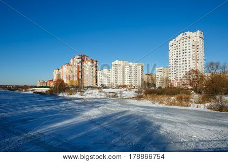 A new residential district with a kindergarten on the banks of the river Pekhorka. Balashikha, Moscow region, Russia.