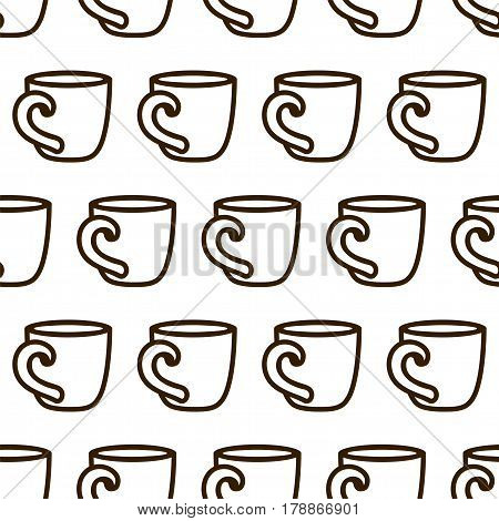 Coffee cup pattern with coffee cups. Cute vector black and white coffee cup pattern. Seamless monochrome coffee cup pattern for fabric, wallpapers, wrapping paper, cards and web background.
