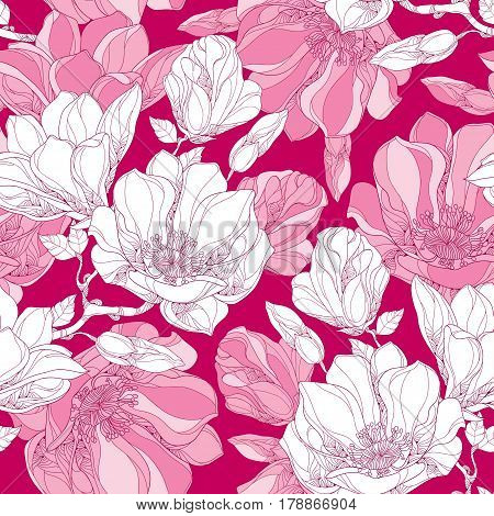 Vector seamless pattern with ornate magnolia flower, buds and leaves in white on the pink background. Floral background in contour style for summer design.