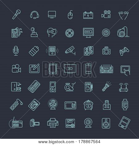 Electronics Line Icon Set. Set vector line icons, sign and symbols in flat design