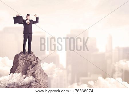 A professional winner business person standing on a dangerous mountain top above the city scape with clouds concept
