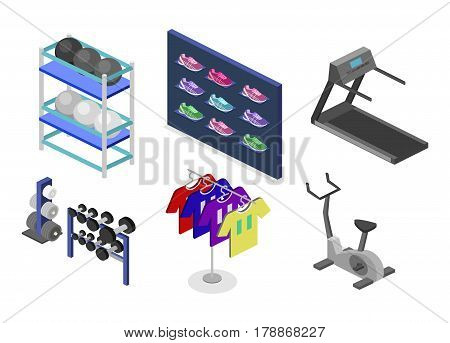 Isometric Flat 3D Vector Goods For The Sports Shop.