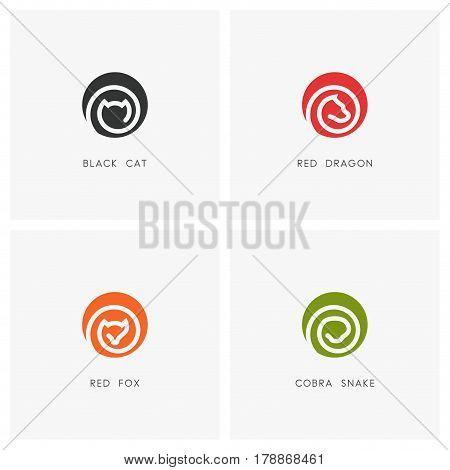 Animal logo set. Black cat, red dragon, fox and cobra snake symbols - pet and wild predator icons.