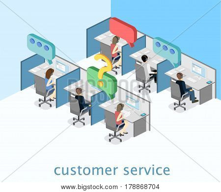 Isometric Flat 3D Interior Call Center. Customer Support.