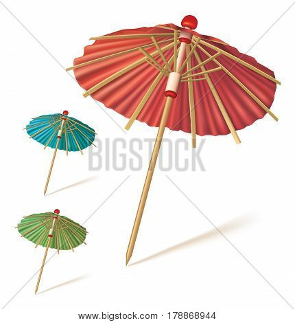 Cocktail umbrella isolated on a white background Red blue green paper cocktail or drink umbrella. Vector illustration