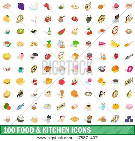 100 food and kitchen icons set in isometric 3d style for any design vector illustration