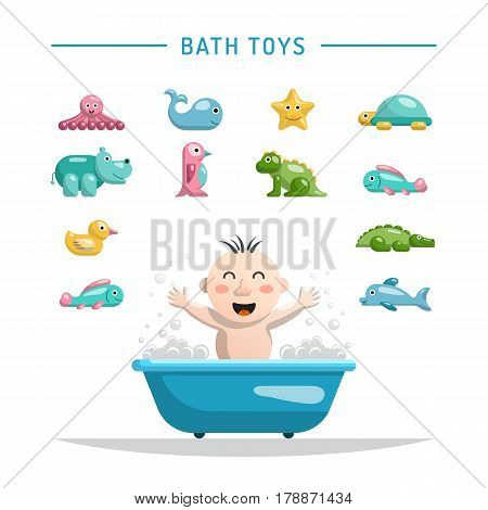 the child playing with the bath toys for bathing