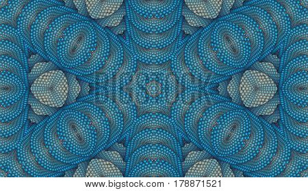 Kaleidoscopic beige and blue seamless pattern is computer graphics and it can be used in the design of textiles in the printing industry in a variety of design projects.