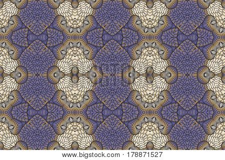 Kaleidoscopic beige and purple seamless pattern is computer graphics and it can be used in the design of textiles in the printing industry in a variety of design projects.