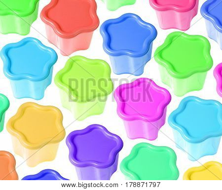Colourful Floral Shape Plastic Containers Background