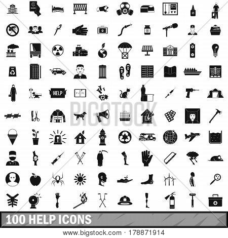 100 help icons set in simple style for any design vector illustration