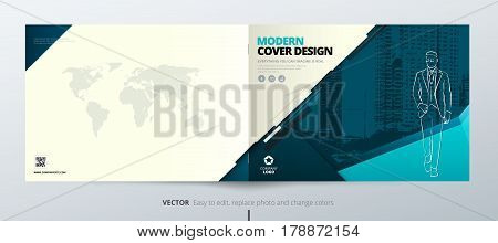 Landscape Brochure design. Teal Corporate business template for brochure report catalog magazine book booklet. Horizontal layout with modern elements and abstract background. Creative vector concept