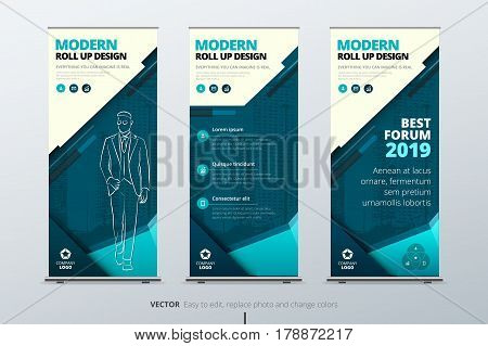 Roll Up banner stand. Presentation concept. Teal Corporate business roll up template background. Vertical template billboard, banner stand or flag design layout. Poster for conference, forum, shop