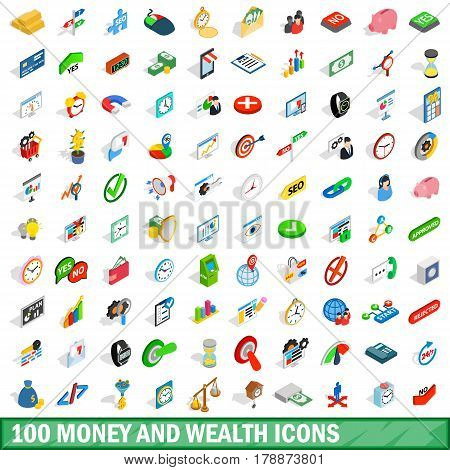 100 money wealth icons set in isometric 3d style for any design vector illustration