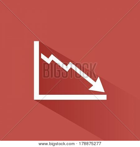 Bankruptcy chart icon with shade on red background