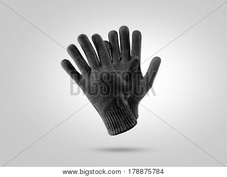 Blank black knitted winter gloves mockup. Clear ski or snowboard mittens mock up, isolated. Warm hand clothes design template. Plain arm accessory presentation for branding.