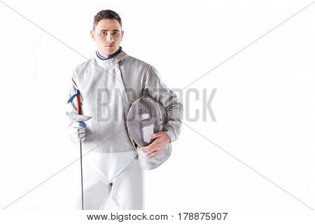 Portrait Of Serious Fencer Holding Rapier And Mask On White