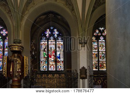 Stained Glass In Konstanz (constance) Minster Or Konstanz (constance) Cathedral Church. Germany