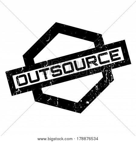 Outsource rubber stamp. Grunge design with dust scratches. Effects can be easily removed for a clean, crisp look. Color is easily changed.