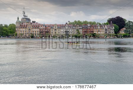 CONSTANCE GERMANY - JUNE 12 2013: Panoramic view of Konstanz (Constance) on Bodensee Lake. Germany
