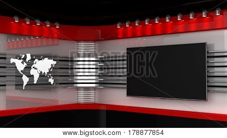 Tv Studio. Backdrop For Tv Shows .tv On Wall. News Studio. The Perfect Backdrop For Any Green Screen