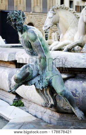 Bronze statue of a satyr, detail of Neptune Fountain in Florence, situated on the Piazza della Signoria , sculptor Bartolomeo Ammannati 1563-1565, .